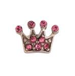Pink Crown - Silver & CZ Charm