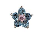 Flower Blue/Pink - Silver & CZ Charm