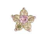 Flower Green/Pink - Silver & CZ Charm