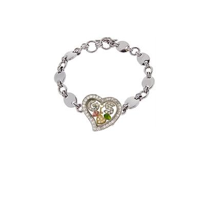 CZ Heart Bracelet with Italian Style Chain