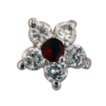 Flower Clear/Red - Silver & CZ Charm