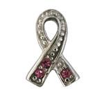 Pink Ribbon - Silver & CZ Charm